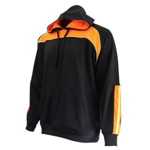 Hoodie: Black, Orange & Yellow Piping