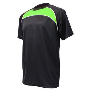 Training T-Shirt: Black, Emerald, Green & White Piping