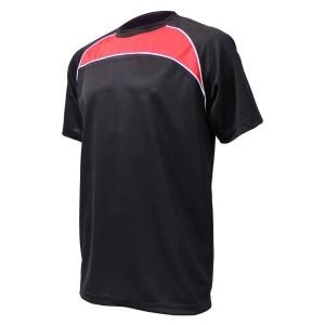 Training T-Shirt: Black, Red & White Piping
