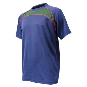 Training T-Shirt: Navy, Bottle Green & Red Piping