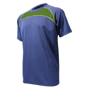 Training T-Shirt: Navy, Bottle Green & Gold Piping